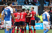 23rd September 2017, Rugby Park, Kilmarnock, Scotland; SPFL Premiership football, Kilmarnock versus Dundee; Dundee's Faissal El Bakhtaoui is congratulated after scoring for 1-0