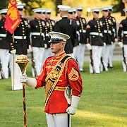 The Commandant's Own marching band performs at the Sunset Parade at the Iwo Jima Memorial (Marine Corps Memorial) in Arlington, VA, on Tuesday evenings in the summer.