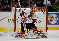 Apr 3, 2007; East Rutherford, NJ, USA; Ottawa Senators goalie Ray Emery (1) makes a save during the third period at Continental Airlines Arena in East Rutherford, NJ.