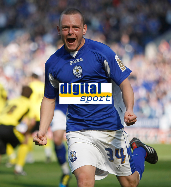 Photo: Steve Bond/Richard Lane Photography. Leicester City v Watford. Coca Cola Championship. 17/04/2010. Jay Spearing celebrates
