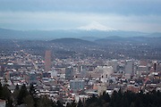 Downtown Portland, Oregon with Mount Hood on the horizon. Winter 2013.