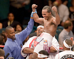 May 6, 2006 - Las Vegas, NV - Joan Guzman celebrates his unanimous decision win over Javier Jauregui at the MGM Grand Garden Arena.