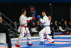 November 10, 2018 - Madrid, Madrid, Spain - Poorshab Zabiollah (IRI) figth with Yuldashev Daniyar (KAZ) for third place of male Kumite -84 Kg during the Finals of Karate World Championship celebrates in Wizink Center, Madrid, Spain, on November 10th, 2018. (Credit Image: © AFP7 via ZUMA Wire)