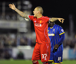 Liverpool's Martin Skrtel - Photo mandatory by-line: Dougie Allward/JMP - Mobile: 07966 386802 - 05/01/2015 - SPORT - football - London - Cherry Red Records Stadium - AFC Wimbledon v Liverpool - FA Cup - Third Round