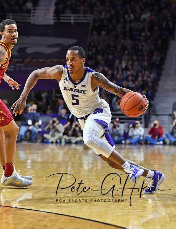MANHATTAN, KS - FEBRUARY 16:  Barry Brown Jr. #5 of the Kansas State Wildcats dribbles the ball up court during the second half against the Iowa State Cyclones on February 16, 2019 at Bramlage Coliseum in Manhattan, Kansas.  (Photo by Peter G. Aiken/Getty Images) *** Local Caption *** Barry Brown Jr.