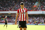 John Egan of Sheffield United during the Premier League match between Sheffield United and Crystal Palace at Bramall Lane, Sheffield, England on 18 August 2019.