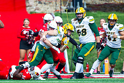 NORMAL, IL - October 05: Dylan Draka pursues James Hendricks during a college football game between the ISU (Illinois State University) Redbirds and the North Dakota State Bison on October 05 2019 at Hancock Stadium in Normal, IL. (Photo by Alan Look)