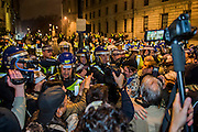 The march is briefly kettled but, as is often the case, when trouble flares, there are often more members of the media than protestors - The annual Million Mask March bonfire night protest started in Trafalgar Square and headed to Westminster where it splintered. The march was organised by Anonymous UK and marchers wore the trademark V for Vendetta, Guy Fawkes masks. The police had placed tight restrictions on the route after trouble last year but, after a brief kettle, seemed happy to let the crowd filter in different directions.