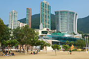 HONG KONG, CHINA - SEPTEMBER 16, 2012: Unidentified people relax at the Stanley town beach in Hong Kong, China. Stanley town is a tourist attraction in Hong Kong.