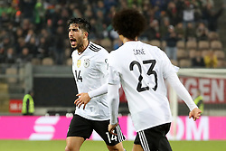 KAISERSLAUTERN, Oct. 9, 2017  Emre Can (L) of Germany celebrates after scoring during the FIFA 2018 World Cup Qualifiers Group C match between Germany and Azerbaijan at Fritz Walter Stadium in Kaiserslautern, Germany, on Oct. 8, 2017. Germany won 5-1. (Credit Image: © Ulrich Hufnagel/Xinhua via ZUMA Wire)