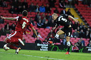 Charlton's Michael Morrison ® shoots and scores his sides 2nd goal.  NPower championship, Bristol city v Charlton Athletic at Ashton Gate stadium in Bristol on Sunday 11th November 2012.  pic by Andrew Orchard, Andrew Orchard sports photography,
