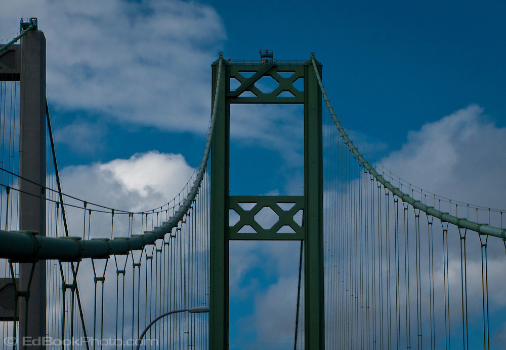looking up at the Tacoma Narrows bridges towers and cables across the Tacoma Narrows of southern Puget Sound in western Washington state, USA