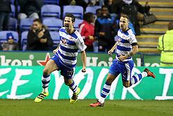 Goal, Yann Kermorgant of Reading scores the equaliser, Reading 1-1 Aston Villa - Mandatory by-line: Jason Brown/JMP - 18/10/2016 - FOOTBALL - Madejski Stadium - Reading, England - Reading v Aston Villa - Sky Bet Championship