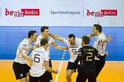 09.01.2016, Max Schmeling Halle, Berlin, GER, CEV Olympia Qualifikation, Deutschland vs Russland, im Bild Marcus Boehme (#8, GER), Lukas Immanuel Kampa (#11, GER), Gyorgy Georg Grozer (#9, GER) und Christian Fromm (#1, GER) // during 2016 CEV Volleyball European Olympic Qualification Match between Germany and Russia at the Max Schmeling Halle in Berlin, Germany on 2016/01/09. EXPA Pictures © 2016, PhotoCredit: EXPA/ Eibner-Pressefoto/ Wuechner<br /> <br /> *****ATTENTION - OUT of GER*****