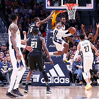 01 April 2018: Denver Nuggets forward Paul Millsap (4) passes the ball during the Denver Nuggets 128-125 victory over the Milwaukee Bucks, at the Pepsi Center, Denver, Colorado, USA.