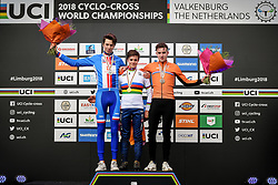 February 3, 2018 - Valkenburg, THE NETHERLANDS - Czech Tomas Kopecky, British Ben Tullet and Dutch Ryan Kamp pictured on the podium after the Junior men race at the UCI world championships cyclocross cycling, Saturday 03 February 2018 in Valkenburg, The Netherlands. BELGA PHOTO DAVID STOCKMAN (Credit Image: © David Stockman/Belga via ZUMA Press)
