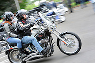 An unidentified motorcyclist and passenger exit the Livengrin Foundation's 12th Annual Ride for Recovery Annual Motorcycle Run and Family Picnic Sunday May 22, 2016 in Bensalem, Pennsylvania. (Photo by William Thomas Cain)
