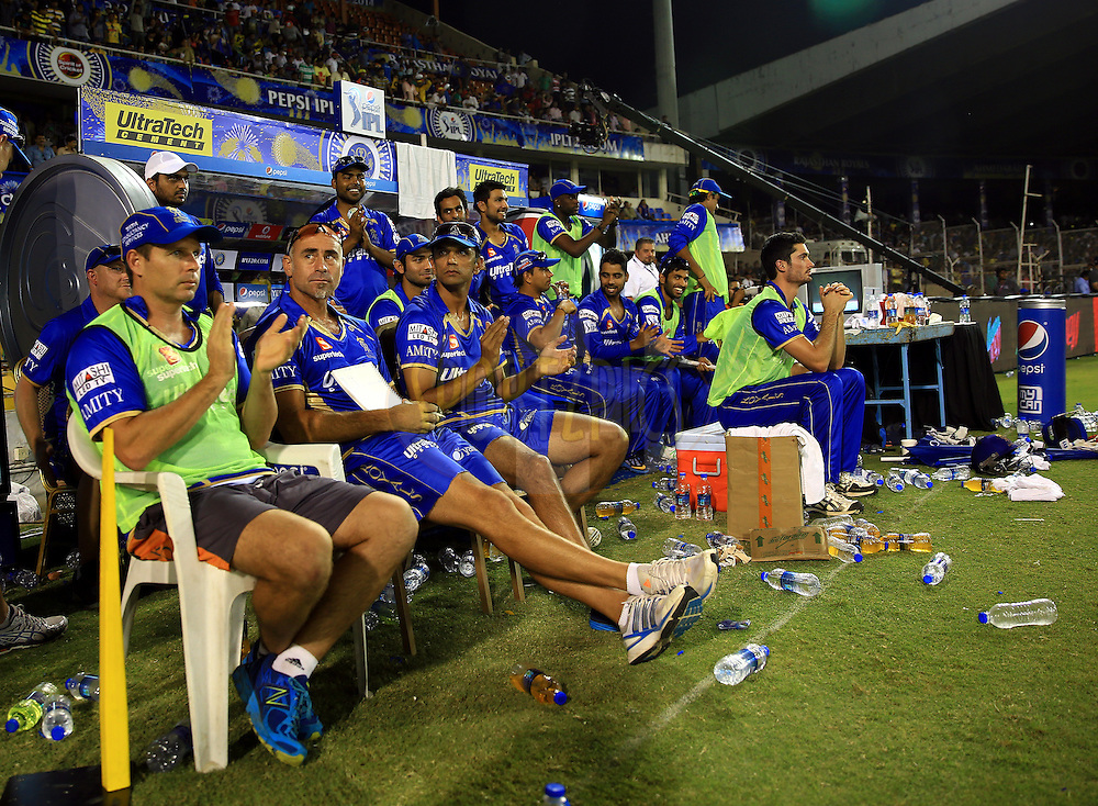Team members of Rajasthan Royals Enjoys in dugout  during match 25 of the Pepsi Indian Premier League Season 2014 between the Rajasthan Royals and the Kolkata Knight Riders held at the Sardar Patel Stadium, Ahmedabad, India on the 5th May  2014<br /> <br /> Photo by Sandeep Shetty / IPL / SPORTZPICS      <br /> <br /> <br /> <br /> Image use subject to terms and conditions which can be found here:  http://sportzpics.photoshelter.com/gallery/Pepsi-IPL-Image-terms-and-conditions/G00004VW1IVJ.gB0/C0000TScjhBM6ikg