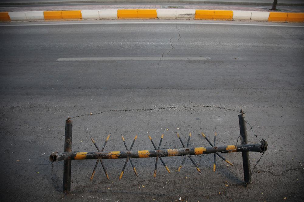 a military roadblock downtown Diyarbakir, eastern turkey.