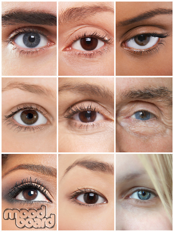 Collage of human eyes