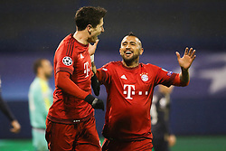 Robert Lewandowski #9 of FC Bayern Munchen and Arturo Vidal #23 of FC Bayern Munchen celebrating goal during football match between GNK Dinamo Zagreb and Bayern München in Group F of Group Stage of UEFA Champions League 2015/16, on December 9, 2015 in Stadium Maksimir, Zagreb, Croatia. Photo by Ziga Zupan / Sportida