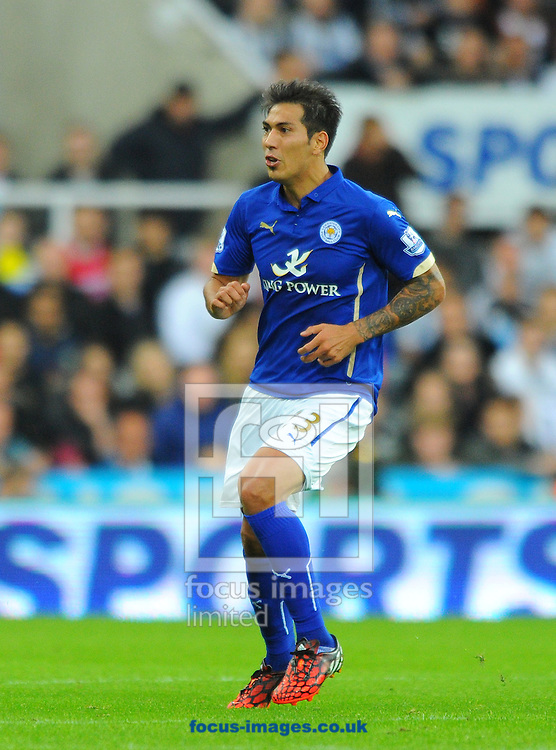 Leonardo Ulloa of Leicester City during the Barclays Premier League match at St. James's Park, Newcastle<br /> Picture by Greg Kwasnik/Focus Images Ltd +44 7902 021456<br /> 18/10/2014