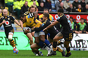 Bath wing Semasa Rokoduguni (14) is held during the Gallagher Premiership Rugby match between Wasps and Bath Rugby at the Ricoh Arena, Coventry, England on 2 November 2019.
