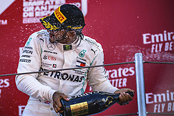 May 12, 2019 - Barcelona, Catalonia, Spain - LEWIS HAMILTON (GBR) from team Mercedes  sprays champagne as he celebrates his victory of the Spanish GP on the podium at the Circuit de Barcelona - Catalunya (Credit Image: © Matthias Oesterle/ZUMA Wire)
