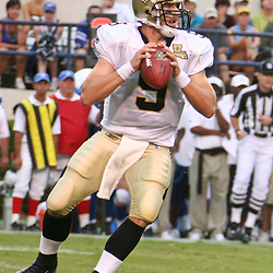 26 August 2006: New Orleans Saints quarterback Drew Brees (9) drops back to pass during a NFL preseason game between the Indianapolis Colts against the New Orleans Saints at Veterans Memorial Stadium in Jackson, Mississippi.