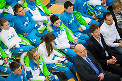 Bogdan Gabrovec and Iztok Cop during presentation of Slovenian Young Athletes before departure to EYOF (European Youth Olympic Festival) in Vorarlberg and Liechtenstein, on January 21, 2015 in Bled, Slovenia. Photo by Vid Ponikvar / Sportida
