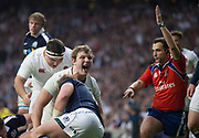 Twickenham, United Kingdom. Referee, Mathieu RAYNAL points and signals a try for Billy VUNIPOLA's touch down,<br /> Joe LUNCHBURY, celebrates, Six Nations International Rugby, Calcutta Cup Game, England vs Scotland, RFU Stadium, Twickenham, England, <br /> <br /> Saturday  11/03/2017<br /> <br /> [Mandatory Credit; Peter Spurrier/Intersport-images]