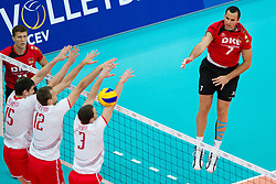 12.09.2011, O2 Arena, Prag, CZE, Europameisterschaft Volleyball Maenner, Vorrunde D, Deutschland (GER) vs Bulgarien (BUL), im Bild Todor Aleksiev (#15 BUL), Viktor Yosifov (#12 BUL), Andrey Zhekov (#3 BUL) - Georg Grozer (#7 GER / Rzeszow POL) // during the 2011 CEV European Championship, Germany vs Bulgaria at O2 Arena, Prague, 2011-09-12. EXPA Pictures © 2011, PhotoCredit: EXPA/ nph/  Kurth       ****** out of GER / CRO  / BEL ******