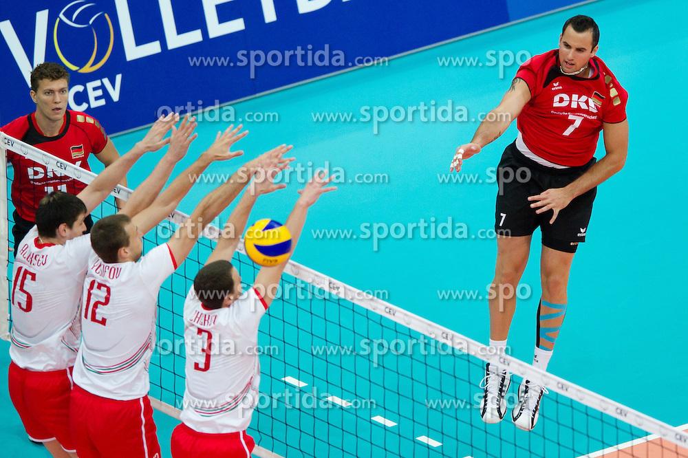 12.09.2011, O2 Arena, Prag, CZE, Europameisterschaft Volleyball Maenner, Vorrunde D, Deutschland (GER) vs Bulgarien (BUL), im Bild Todor Aleksiev (#15 BUL), Viktor Yosifov (#12 BUL), Andrey Zhekov (#3 BUL) - Georg Grozer (#7 GER / Rzeszow POL) // during the 2011 CEV European Championship, Germany vs Bulgaria at O2 Arena, Prague, 2011-09-12. EXPA Pictures © 2011, PhotoCredit: EXPA/ nph/  Kurth       ****** out of GER / CRO  / BEL ******