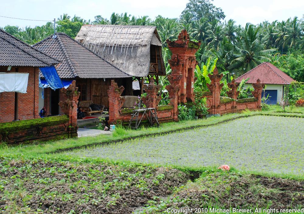 A Balinese farmhouse in Ubud, Bali, Indonesia.