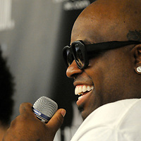Cee-Lo Green of Gnarls Barkley smiles as he fields questions at a press conference for the New American Music Union, a two day music festival held in Pittsburgh, Pennsylvania.