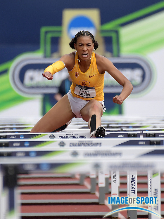 Jun 8, 2018; Eugene, OR, USA; Lyndsey Lopes of Southern California runs 13.48 in the heptathon 100m hurdles during the NCAA Track and Field championships at Hayward Field.