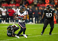 American Football - 2019 NFL Season (NFL International Series, London Games) - Houston Texans vs. Jacksonville Jaguars<br /> <br /> Justin Reid, Strong Safety, (Houston Texans) runs free at Wembley Stadium.<br /> <br /> COLORSPORT/DANIEL BEARHAM