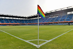 June 9, 2018 - San Jose, California, United States - San Jose, CA - Saturday June 09, 2018: Pride night corner flag during a Major League Soccer (MLS) match between the San Jose Earthquakes and Los Angeles Football Club at Avaya Stadium. (Credit Image: © John Todd/ISIPhotos via ZUMA Wire)