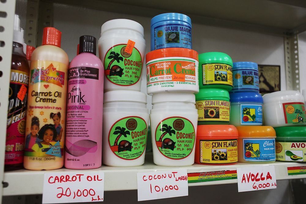 Ethiopian cosmetics and hair products sold at a shop for migrant domestic workers.