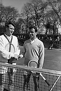 19/04/1963<br /> 04/19/1963<br /> 19 April 1963<br /> Tennis: Peter Jackson v Nicholas Kalynas (Greece). Davis Cup International Junior Tennis at Fitzwilliam Tennis Club, Appian Way,  Dublin.  Jackson and Kalynas shake hands before the match.