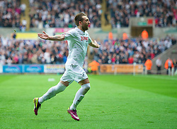 SWANSEA, WALES - Monday, May 15, 2011: Swansea City's Stephen Dobbie celebrates scoring the second goal against Nottingham Forest during the Football League Championship Play-Off Semi-Final 2nd Leg match at the Liberty Stadium. (Photo by David Rawcliffe/Propaganda)