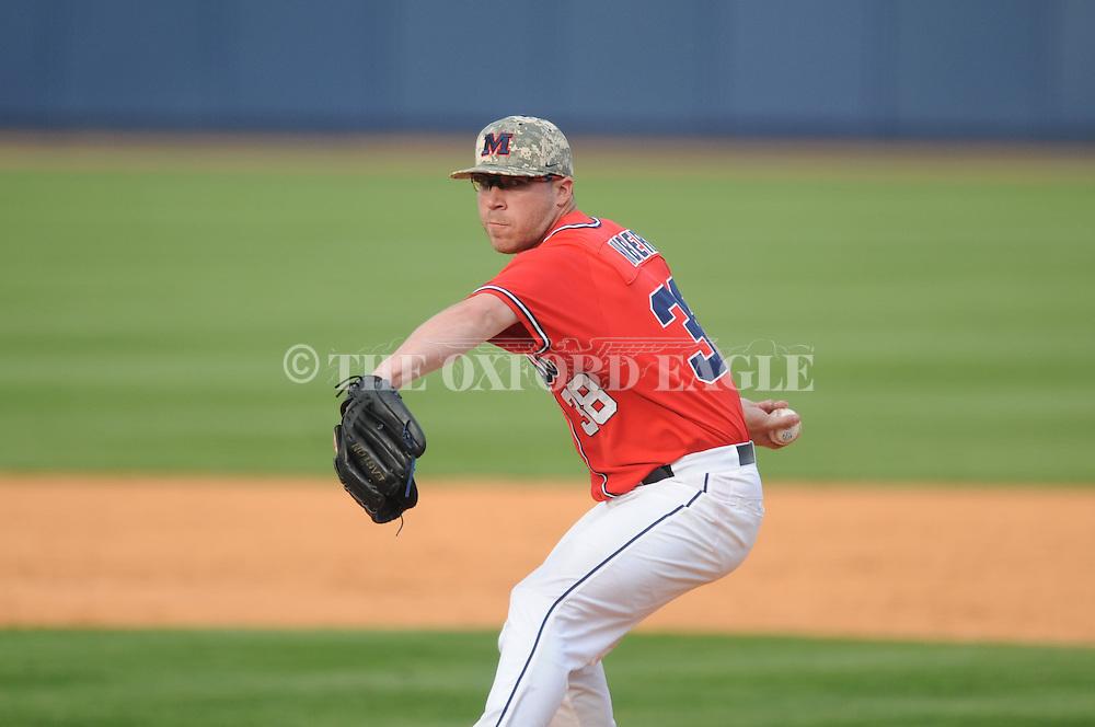 Ole Miss' Brett Huber (38) pitches vs. Vanderbilt at Oxford-University Stadium Stadium in Oxford, Miss. on Sunday, April 7, 2013. Vanderbilt won 7-6 in 11 innings.