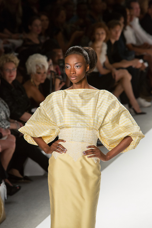 Light yellow checked dress with white lace at the waist. By Zang Toi, shown at his Spring 20132 Fashion Week show in New York.