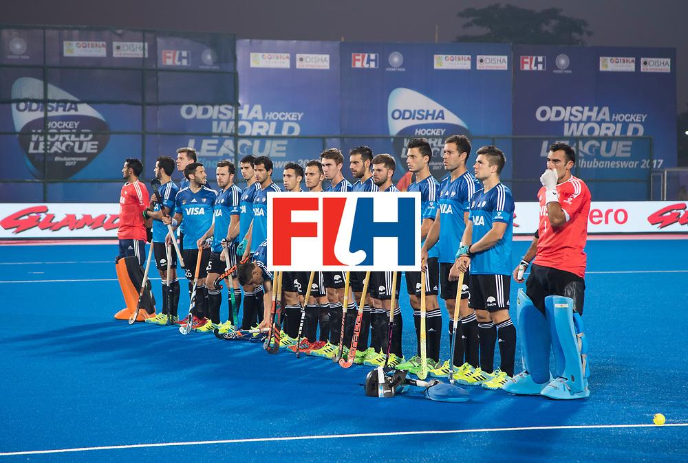 Odisha Men's Hockey World League Final Bhubaneswar 2017<br /> Match id:14<br /> England v Argentina , Quater Final<br /> Foto:  line up Argentina. <br /> WSP COPYRIGHT KOEN SUYK