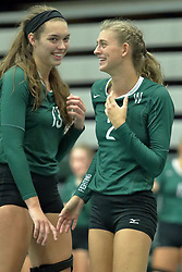 23 September 2017:  Rachel Burkman & Kyleigh Block during an NCAA womens division 3 Volleyball match between the Tufts Jumbos and the Illinois Wesleyan Titans in Shirk Center, Bloomington IL