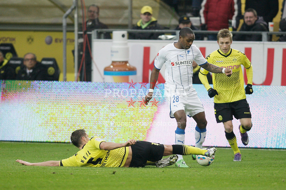 "28.01.2012, Signal Iduna Park, Dortmund, GER, 1. FBL, Borussia Dortmund vs 1899 Hoffenheim, 19. Spieltag, im Bild v.l. Sebastian Kehl (Borussia Dortmund), Edson Braafheid (TSG 1899 Hoffenheim), Jakub Blaszczykowski Kuba (Borussia Dortmund), Aktion // during the football match of the german ""Bundesliga"", 19th round, between GER, 1. FBL, Borussia Dortmund and 1899 Hoffenheim, at the Signal Iduna Park, Dortmund, Germany on 2012/01/28. EXPA Pictures © 2012, PhotoCredit: EXPA/ Eibner/ Oliver Vogler..***** ATTENTION - OUT OF GER *****"