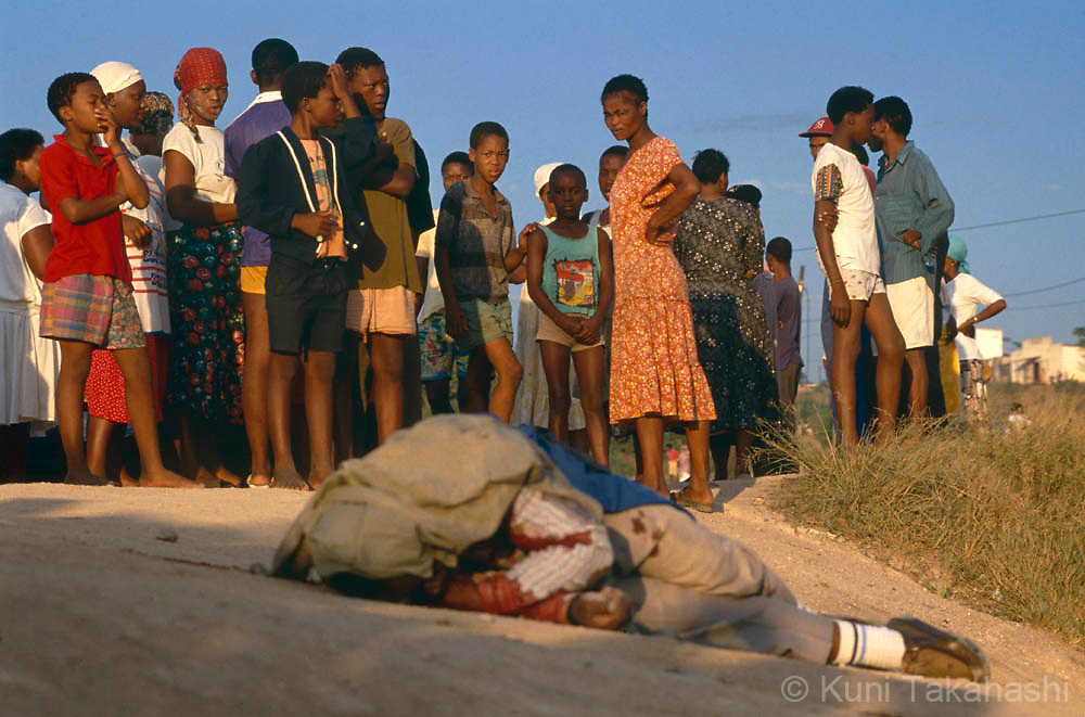 Victim of political violence in Kwa Mashu, South Africa, prior to the country's first multi-racial election in 1994.