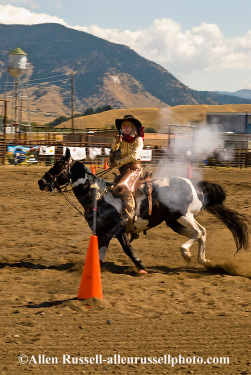 Cowgirl, Cowboy Mounted Shooting, Bozeman Montana, Paint Horse