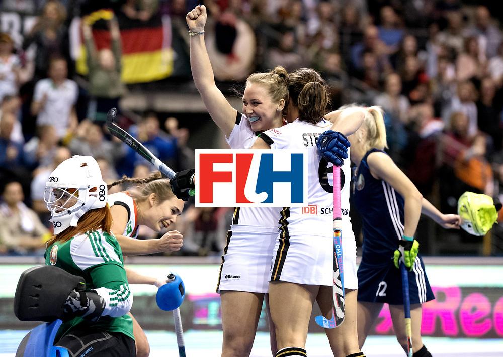 BERLIN - Indoor Hockey World Cup<br /> Semi-final: Belarus - Germany<br /> foto: Nike Lorenz celebrates.<br /> WORLDSPORTPICS COPYRIGHT FRANK UIJLENBROEK