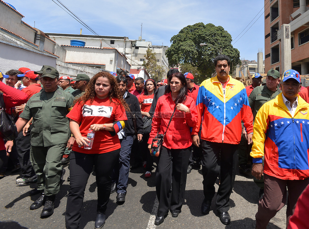 CARACAS - MARCH 06, 2012: Venezuelan Vice president, Nicolas Maduro accompany Chavez funeral through the streets of Caracas to the military academy where he will remain in haste chapel Friday for his remains can be visited by the people. Nicolas Maduro, current chancellor of Venezuela, is the person favored by Hugo Chavez as successor in the presidency. (Photo by Gregorio Marrero)